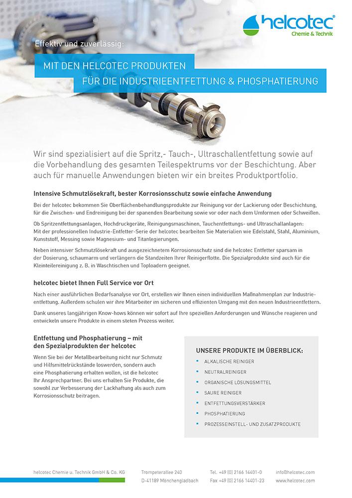 Produktflyer Industrieentfettung & Phosphatierung